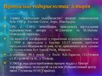 """Віртуальні підприємства: історія Термін """"віртуальне підприємство"""" вперше запр..."""