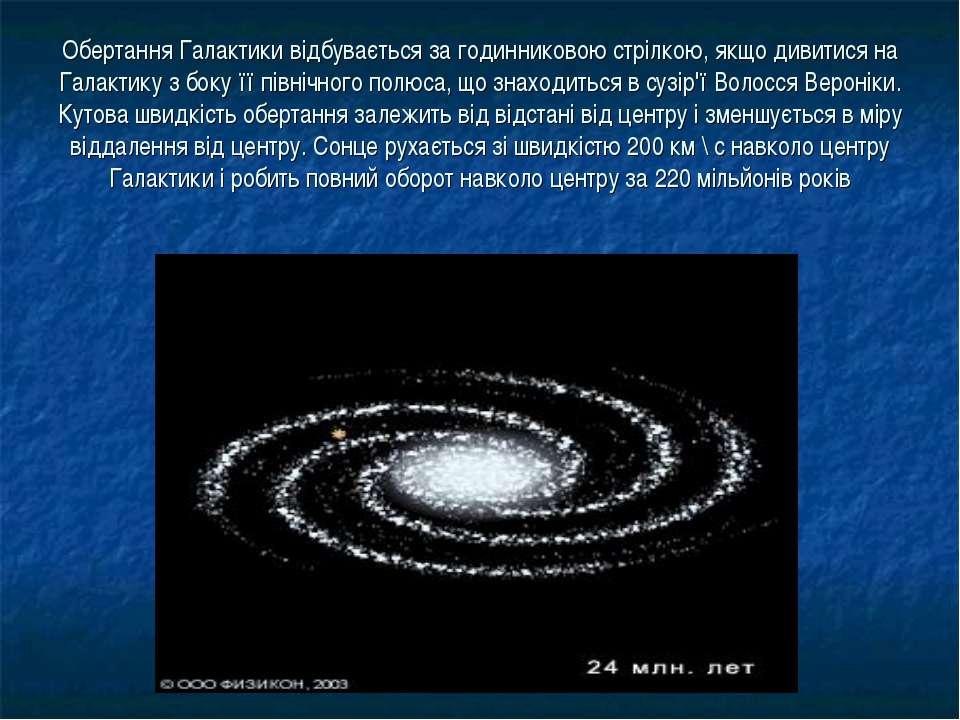 Обертання Галактики відбувається за годинниковою стрілкою, якщо дивитися на Г...