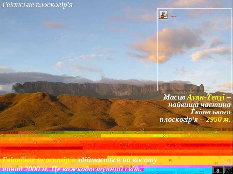 Гвіанське плоскогір'я 8 Гвіанське плоскогір'я здіймається на висоту понад 200...