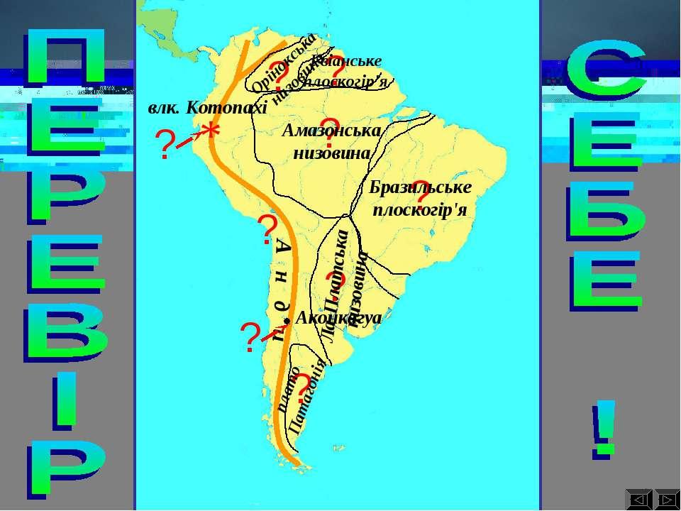 ? А н д и Аконкагуа Амазонська низовина Бразильське плоскогір'я плато Патагон...