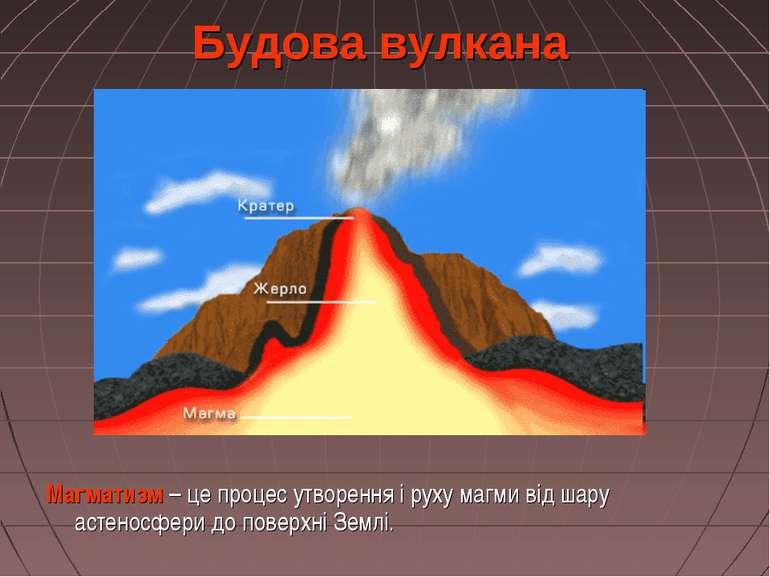 Будова вулкана Магматизм – це процес утворення і руху магми від шару астеносф...