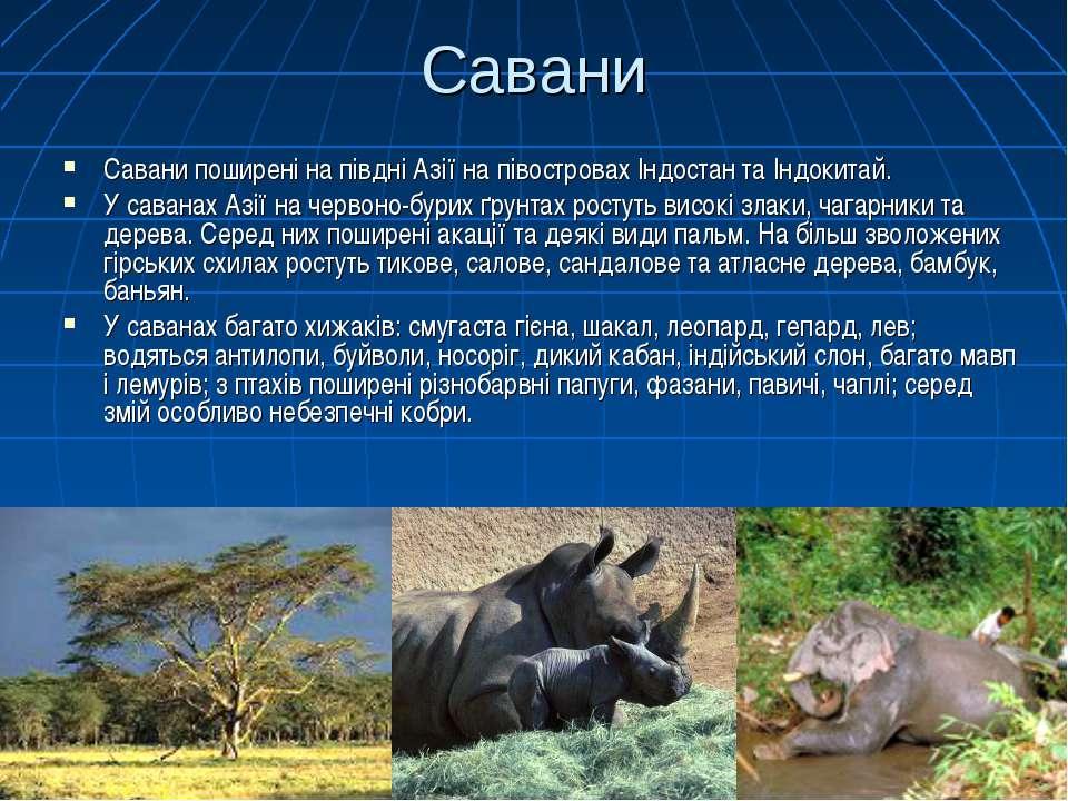 Савани Савани поширені на півдні Азії на півостровах Індостан та Індокитай. У...
