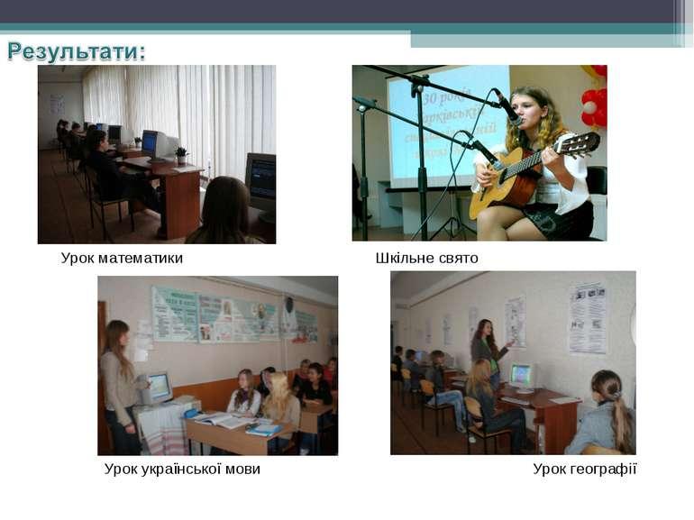 Урок математики Урок української мови Шкільне свято Урок географії