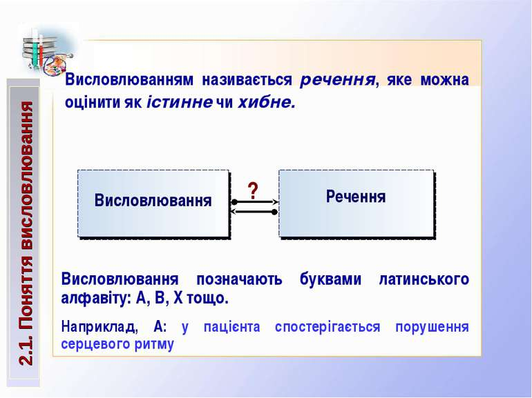2.1. Поняття висловлювання Висловлюванням називається речення, яке можна оцін...
