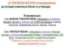 Класифікація: 1 кл. ВЛАСНЕ ГЛІКОПРОТЕЇНИ: побудовані з полімерної білкової ча...