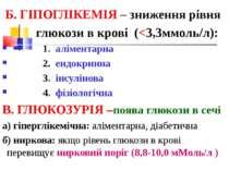 Б. ГІПОГЛІКЕМІЯ – зниження рівня глюкози в крові (