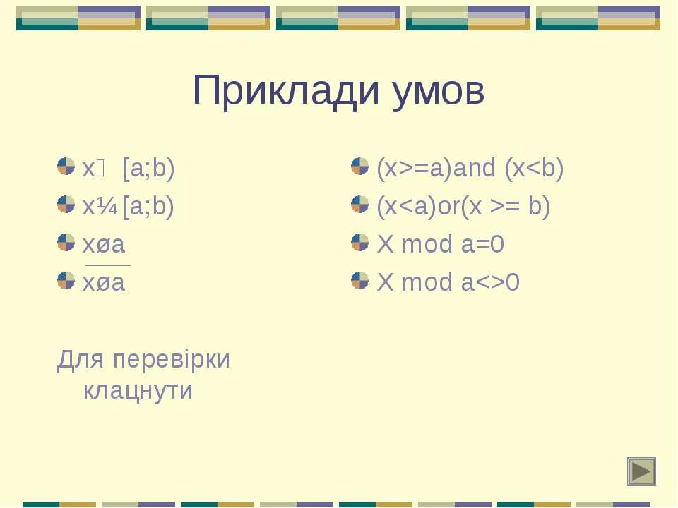 Приклади умов x∊ [a;b) x∉ [a;b) x⋮a x⋮a Для перевірки клацнути (x>=a)and (x