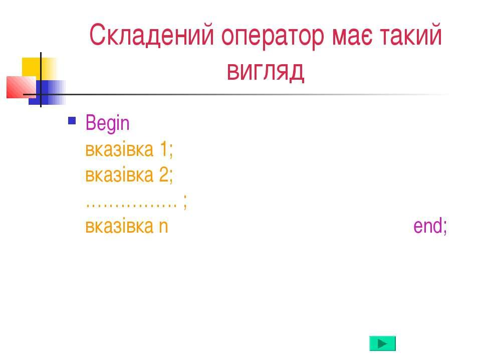 Складений оператор має такий вигляд Begin вказівка 1; вказівка 2; ……………. ; вк...