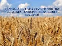 ДЕРЖАВНА ПОЛІТИКА СТАЛОГО РОЗВИТКУ СІЛЬСЬКИХ ТЕРИТОРІЙ І МЕХАНІЗМИ ЇЇ РЕАЛІЗАЦІЇ