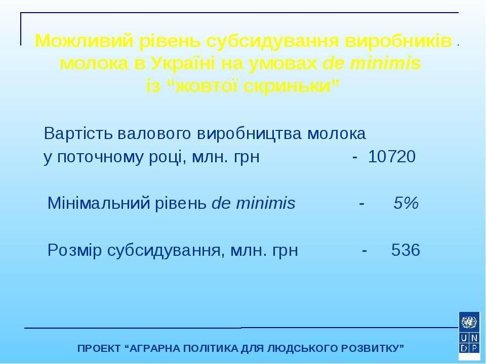 Можливий рівень субсидування виробників молока в Україні на умовах de minimis...