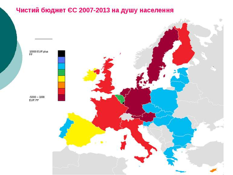 Чистий бюджет ЄС 2007-2013 на душу населення 10000 EUR plus PP 5000 – 1000 EU...