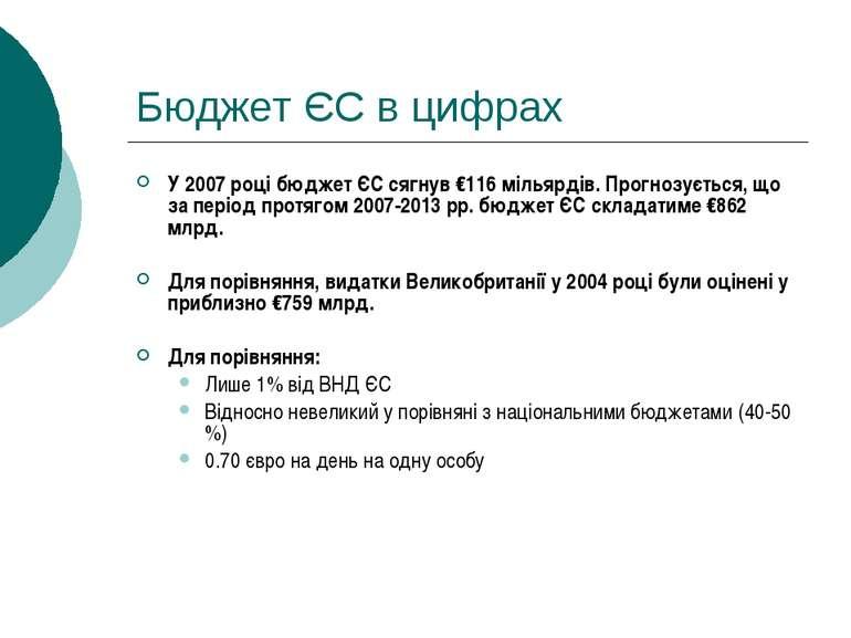Бюджет ЄС в цифрах У 2007 році бюджет ЄС сягнув €116 мільярдів. Прогнозується...