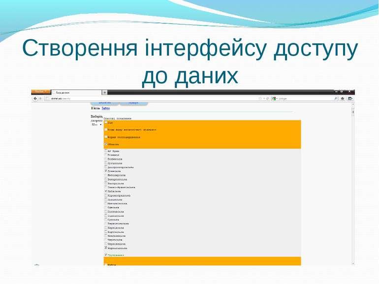 Створення інтерфейсу доступу до даних