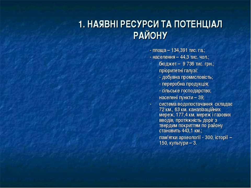1. НАЯВНІ РЕСУРСИ ТА ПОТЕНЦІАЛ РАЙОНУ - площа – 134,391 тис. га.; - населення...