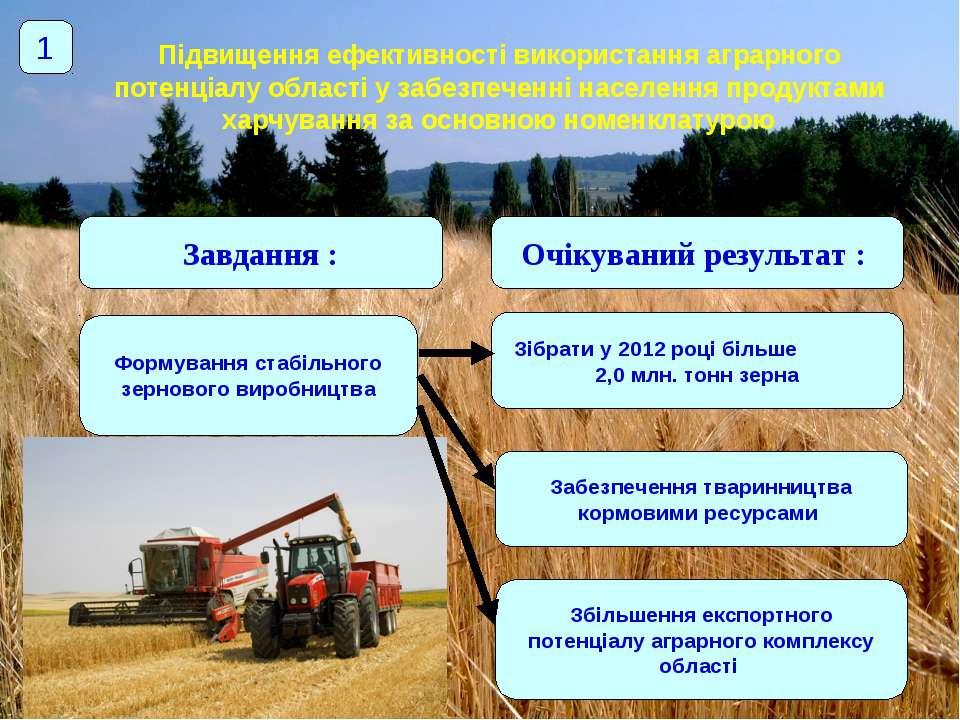 Підвищення ефективності використання аграрного потенціалу області у забезпече...