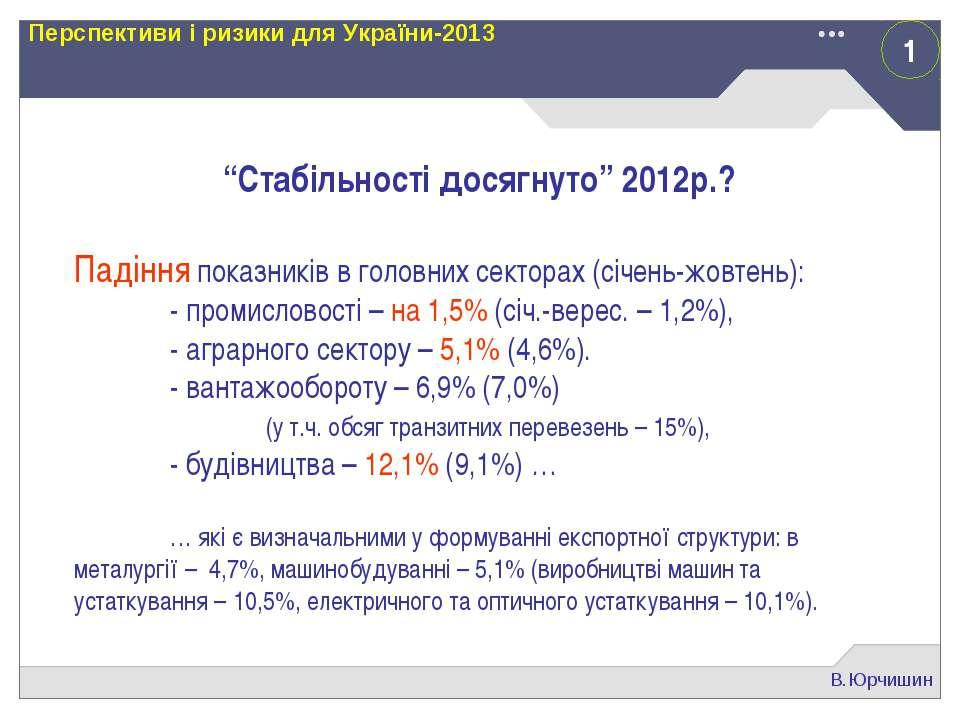 """1 В.Юрчишин Перспективи і ризики для України-2013 """"Стабільності досягнуто"""" 20..."""