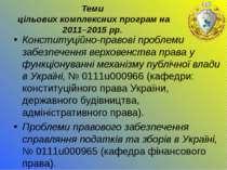 Теми цільових комплексних програм на 2011–2015 рр. Конституційно-правові проб...