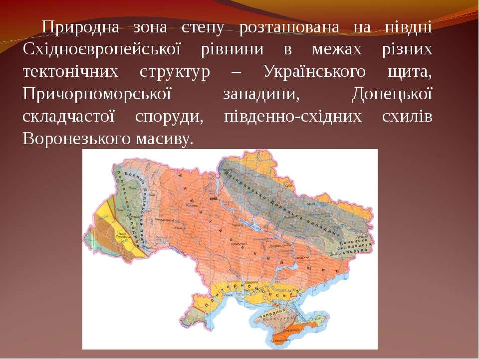 Природна зона степу розташована на півдні Східноєвропейської рівнини в межах ...