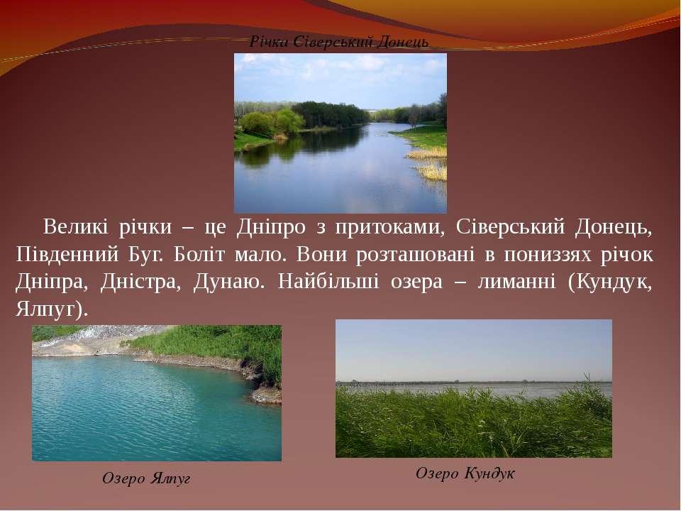 Великі річки – це Дніпро з притоками, Сіверський Донець, Південний Буг. Боліт...