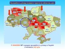Врожайність ріпаку (озимого+ярого) по областях, ц/га У 2004/2005 МР середня в...