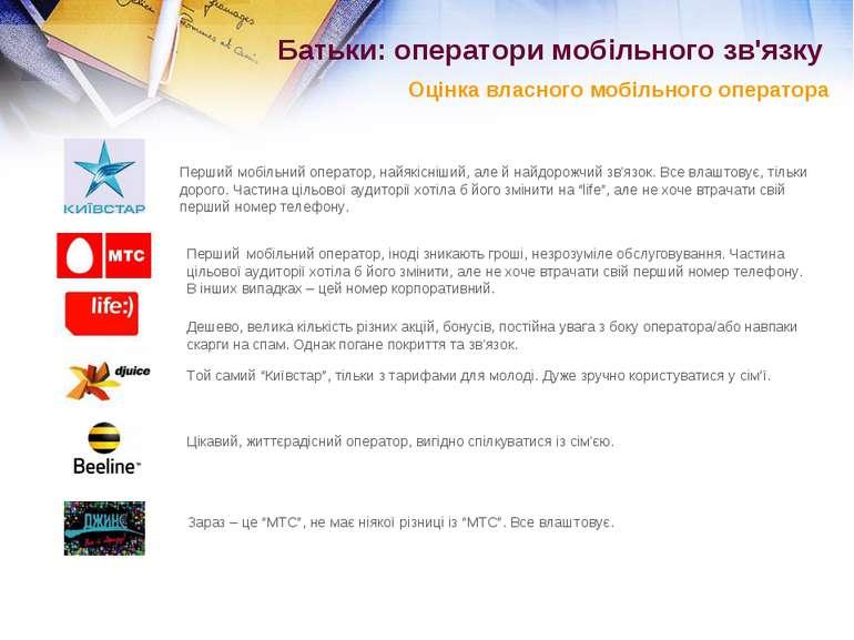 Батьки: оператори мобільного зв'язку Оцінка власного мобільного оператора Пер...