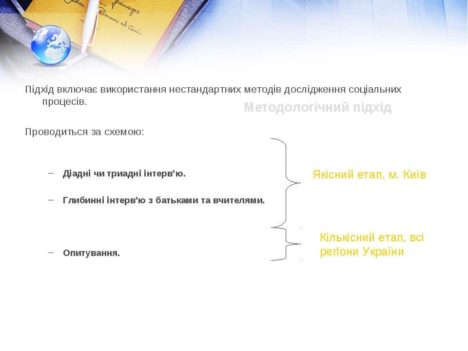 Методологічний підхід Підхід включає використання нестандартних методів дослі...