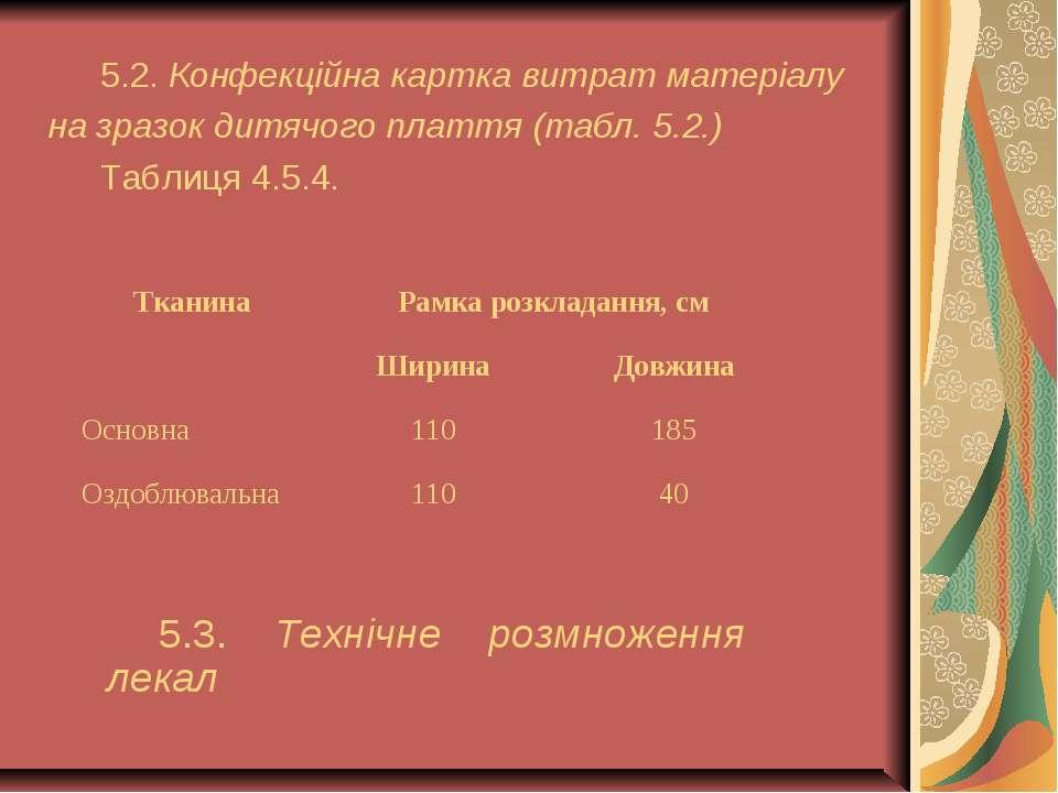 5.2. Конфекційна картка витрат матеріалу на зразок дитячого плаття (табл. 5.2...