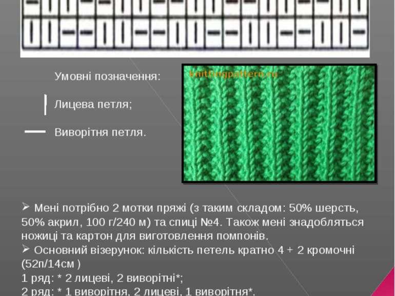 В'язання шарфа спицями Виконала: учениця 9 – А класу Харишин Ілона Умовні поз...