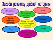 Пластилін Папір Крупа, намисто, гудзики Природний матеріал Нитки, тасьма, мот...