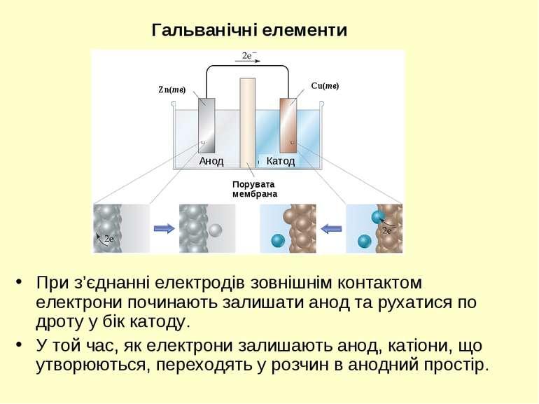 При з'єднанні електродів зовнішнім контактом електрони починають залишати ано...