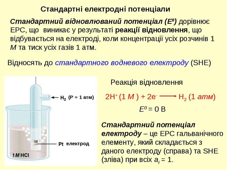 E0 = 0 В Відносять до стандартного водневого електроду (SHE) Реакція відновле...