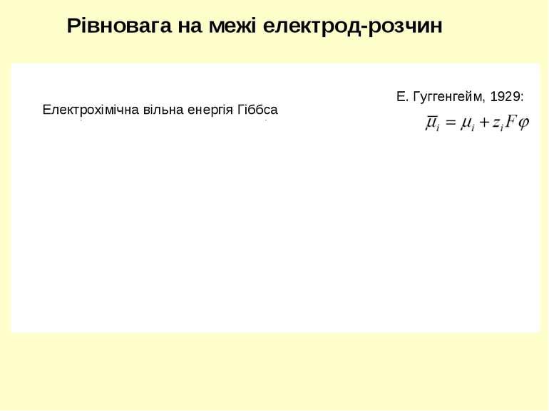 Рівновага на межі електрод-розчин Електрохімічна вільна енергія Гіббса Гальва...