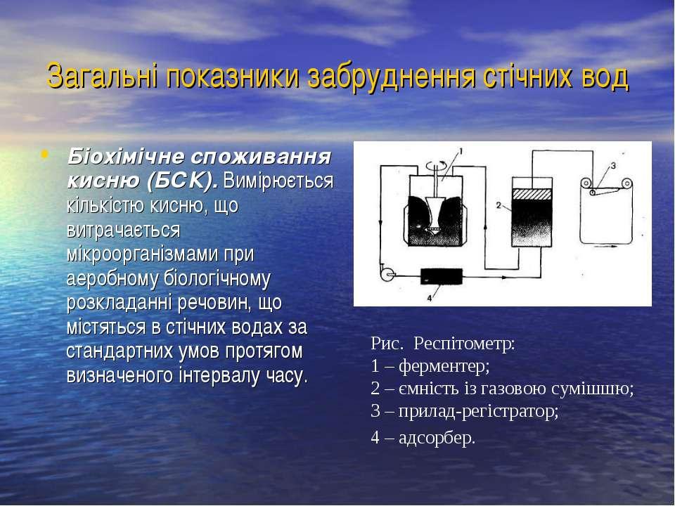 Загальні показники забруднення стічних вод Біохімічне споживання кисню (БСК)....