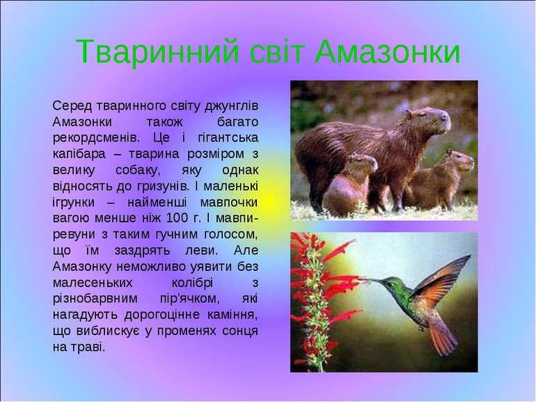 Тваринний світ Амазонки Серед тваринного світу джунглів Амазонки також багато...