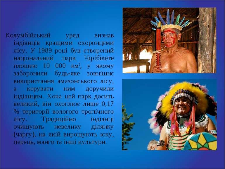Колумбійський уряд визнав індіанців кращими охоронцями лісу. У 1989 році був ...