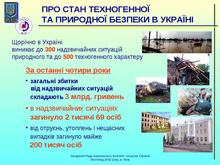 Щорічно в Україні виникає до 300 надзвичайних ситуацій природного та до 500 т...