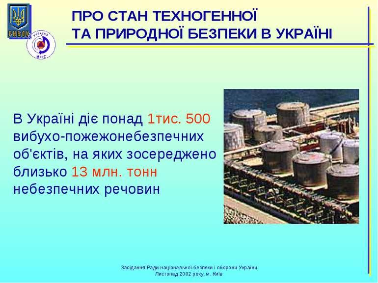 В Україні діє понад 1тис. 500 вибухо-пожежонебезпечних об'єктів, на яких зосе...