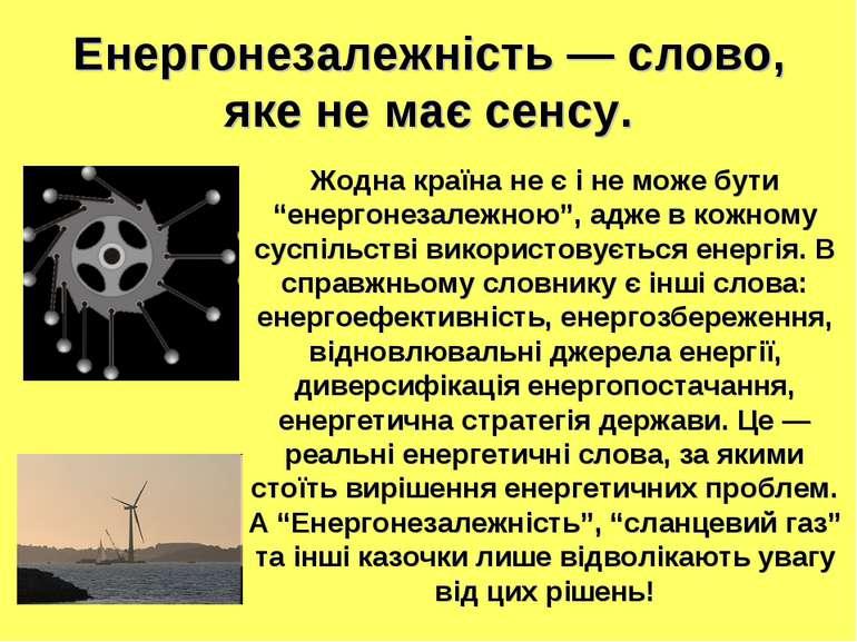 Енергонезалежність — слово, яке не має сенсу. Жодна країна не є і не може бут...