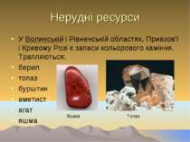 Нерудні ресурси У Волинській і Рівненській областях, Приазов'ї і Кривому Розі...