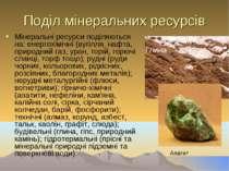 Поділ мінеральних ресурсів Мінеральні ресурси поділяються на: енергохімічні (...
