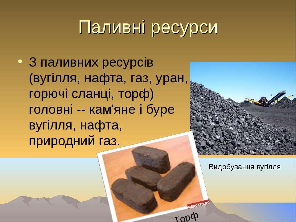 Паливні ресурси З паливних ресурсів (вугілля, нафта, газ, уран, горючі сланці...