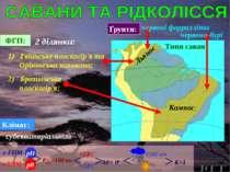 ФГП: 1) Гвіанське плоскогір'я та Орінокська низовина; Клімат: субекваторіальн...