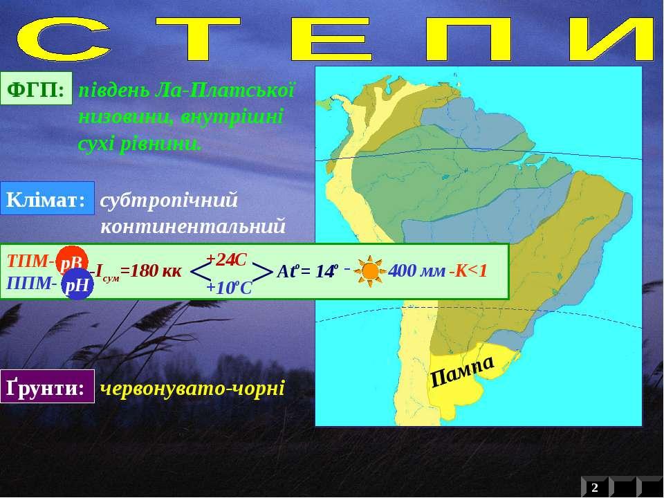 ФГП: південь Ла-Платської низовини, внутрішні сухі рівнини. Клімат: субтропіч...