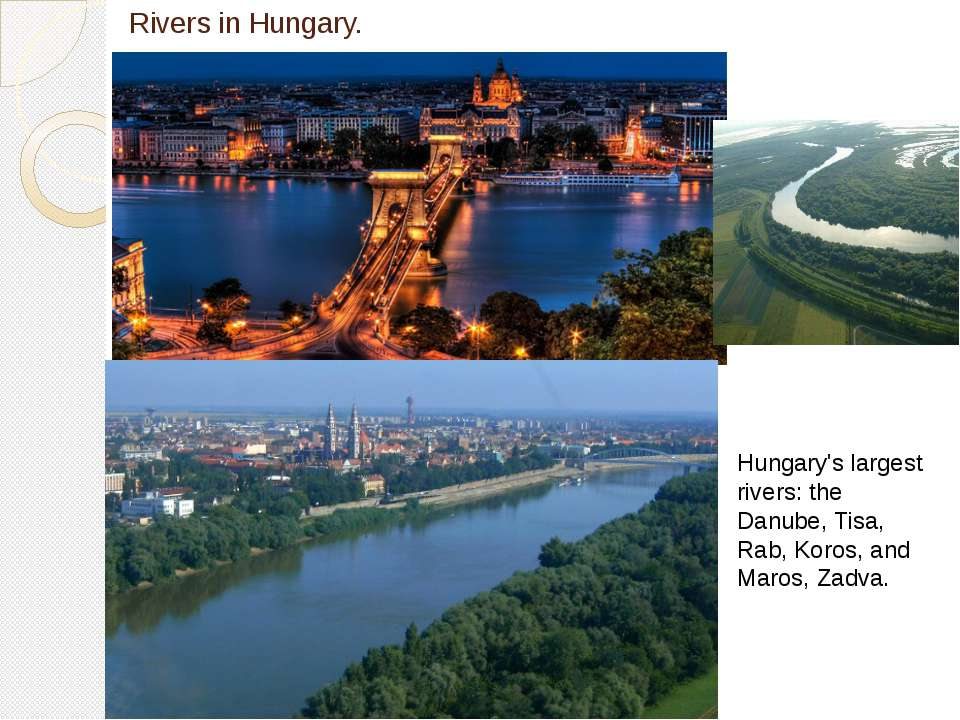 Rivers in Hungary. Hungary's largest rivers: the Danube, Tisa, Rab, Koros, an...