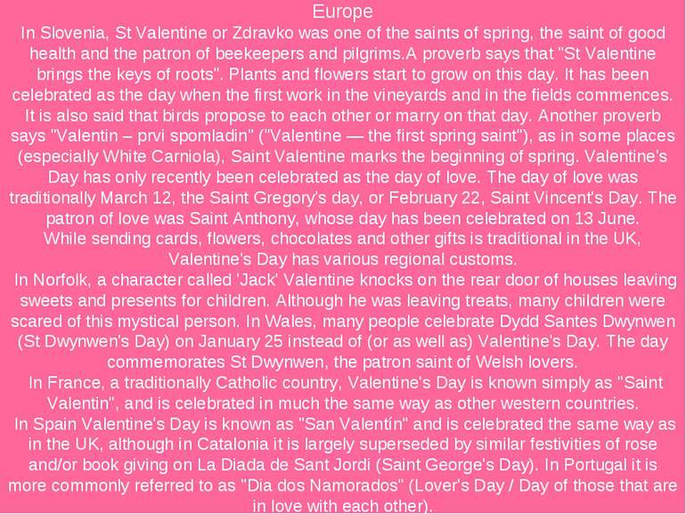 Europe In Slovenia, St Valentine or Zdravko was one of the saints of spring, ...