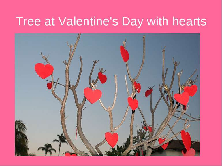 Tree at Valentine's Day with hearts