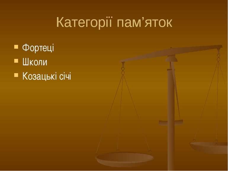 Категорії пам'яток Фортеці Школи Козацькі січі