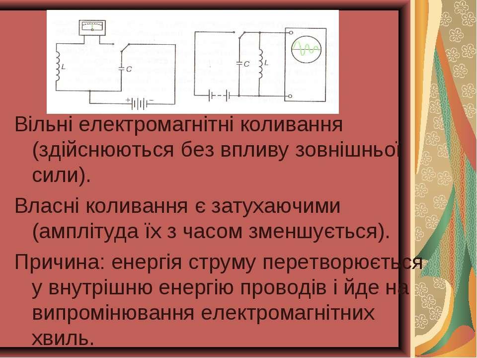 Вільні електромагнітні коливання (здійснюються без впливу зовнішньої сили). В...