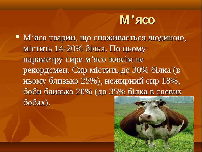М'ясо М'ясо тварин, що споживається людиною, містить 14-20% білка. По цьому п...