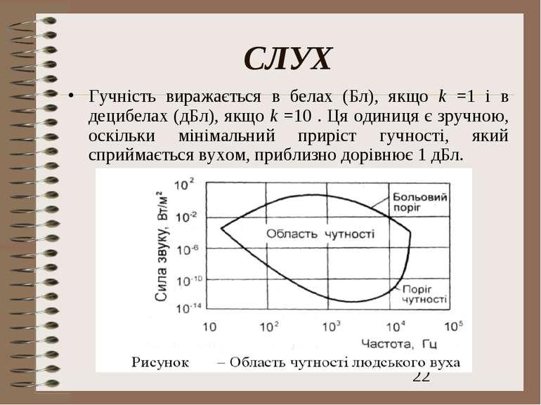 СЛУХ Гучність виражається в белах (Бл), якщо k =1 і в децибелах (дБл), якщо k...